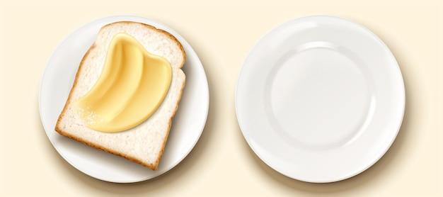 Burro spalmato su pane tostato in illustrazione 3d