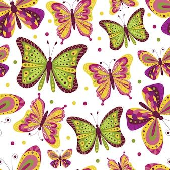 Reticolo senza giunte del fumetto di farfalle su sfondo bianco. Vettore Premium