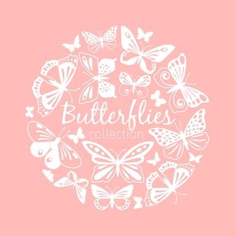 Reticolo del cerchio di farfalle. farfalle bianche su sfondo rosa delicato, ornamento carino per l'illustrazione vettoriale degli inviti di nozze