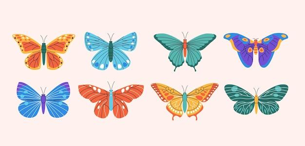 Collezione di elementi di farfalle Vettore Premium