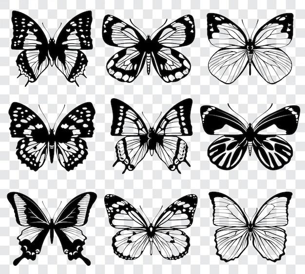 Farfalle isolate su sfondo a scacchi trasparente. silhouette di farfalle nere