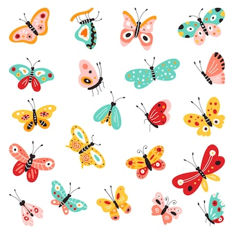 Farfalle, set di raccolta disegnata a mano su sfondo bianco isolato. s. svolazzanti creativi, bellissime farfalle. Vettore Premium
