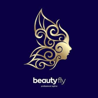 Disegno del logo del viso di bellezza della farfalla