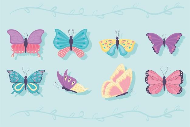 Insieme del fumetto della farfalla