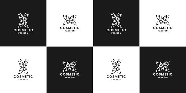 Pacchetto di design del logo cosmetico a farfalla per cosmetici per etichette