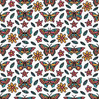 Modello senza cuciture variopinto di doodle della farfalla