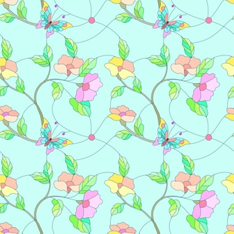 Farfalla e fiori sul modello di stile del vetro macchiato del ramo.