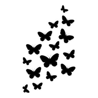 Farfalla farfalle svolazzanti illustrazione vettoriale isolato su sfondo bianco