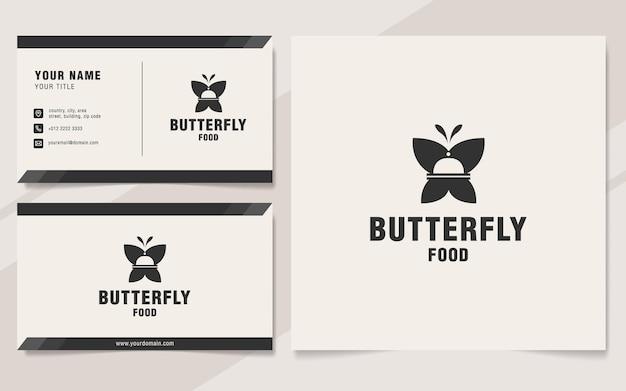Modello di logo di cibo farfalla su stile monogramma