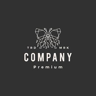 Modello di logo vintage hipster geometrico farfalla