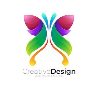 Icona della farfalla, logo della farfalla e design colorato