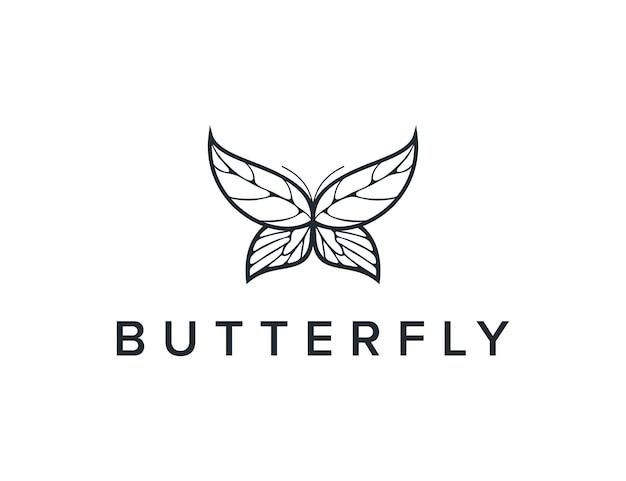 Farfalla e foglie delineano un design del logo moderno geometrico creativo semplice ed elegante