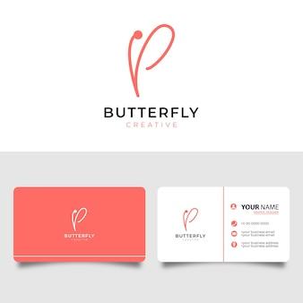 Lettera p di farfalla con biglietto da visita. illustrazione creativa del logo di vettore del salone di bellezza.