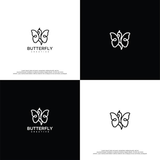 Modello di vettore di progettazione del logo della farfalla