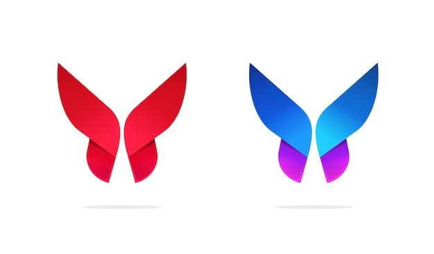 Disegno del modello di logo di vettore di stile di gradiente simmetrico geometrico di logo della farfalla