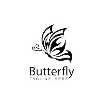 Disegno del modello di logo della farfalla, logo di vettore della siluetta