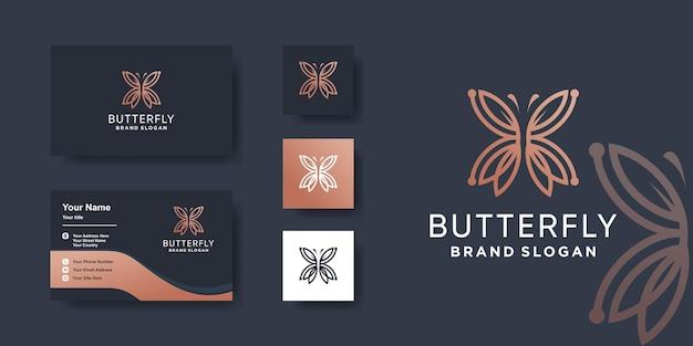 Modello di logo della farfalla con un concetto moderno vettore premium