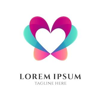 Farfalla e amore / cuore logo concept
