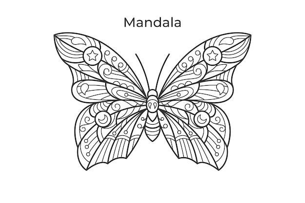 Farfalla mandala libro da colorare illustrazione