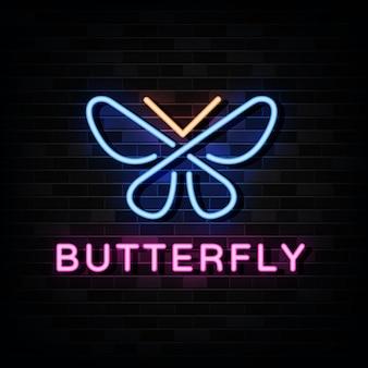 Modello di logo al neon farfalla.