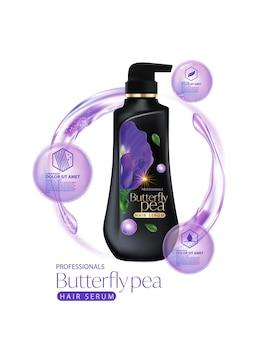 Confezione di shampoo per la cura dei capelli ai fiori di pisello farfalla