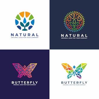 Collezione di design logo farfalla, pianta, comunità.
