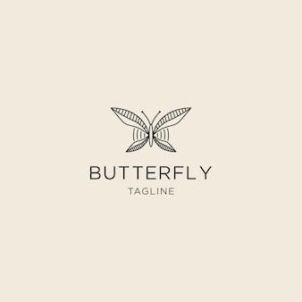Logo della linea premium a farfalla con modello di logo in stile piatto
