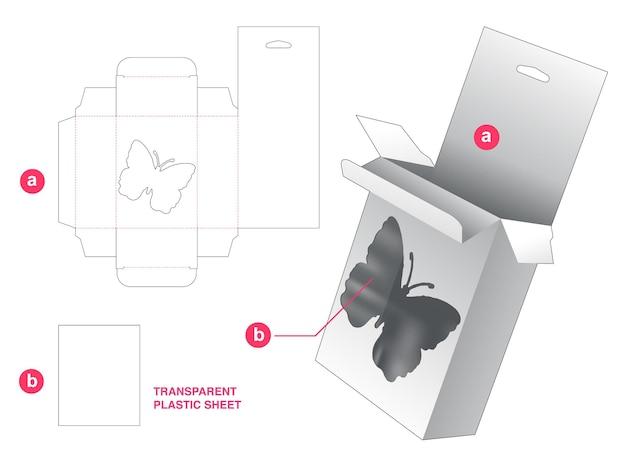 Scatola da appendere a forma di farfalla con sagoma fustellata in foglio di plastica trasparente
