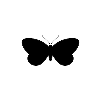 Icona della siluetta della farfalla in uno stile semplice alla moda. illustrazioni di icone vettoriali di falene insetti per la creazione di loghi di saloni di bellezza, manicure, massaggi, spa, gioielli, tatuaggi e artisti fatti a mano.