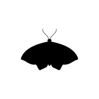 Icona della siluetta della farfalla in uno stile semplice alla moda. vector icon of insect moths per la creazione di loghi di saloni di bellezza, manicure, massaggi, spa, gioielli, tatuaggi e artisti fatti a mano.