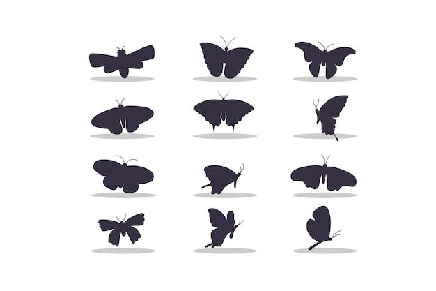 Disegno dell'illustrazione di vettore della siluetta della farfalla