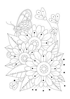 La farfalla si siede sull'illustrazione della linea di arte dei fiori per la terapia artistica da colorare