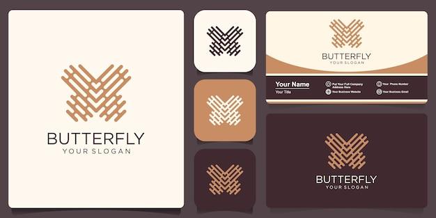 Farfalla tech logo disegno geometrico astratto modello vettoriale icona di stile lineare.