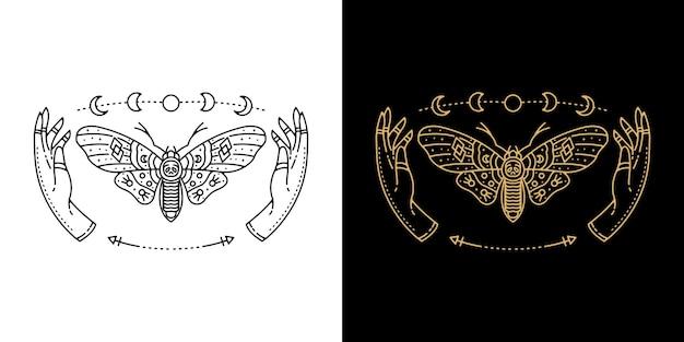 Farfalla con la mano e la luna tattoo monoline design