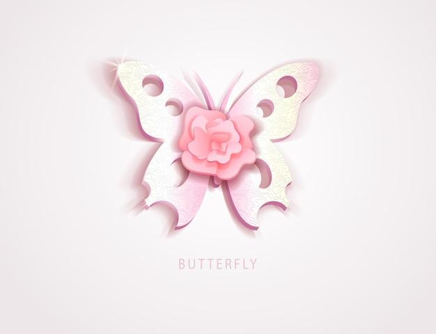 Farfalla con fiore rosa pink