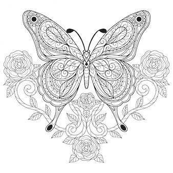 Farfalla con rosa. illustrazione di schizzo disegnato a mano per libro da colorare per adulti.