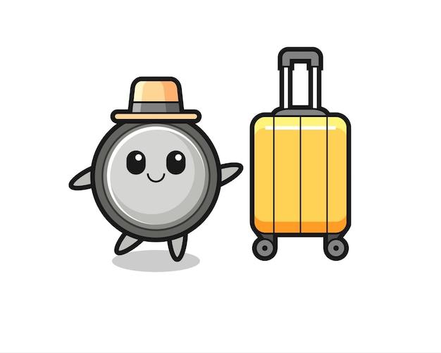 Illustrazione di cartone animato a celle a bottone con bagagli in vacanza, design in stile carino per t-shirt, adesivo, elemento logo