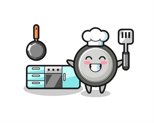 Illustrazione del personaggio della cella a bottone mentre uno chef sta cucinando, design in stile carino per maglietta, adesivo, elemento logo