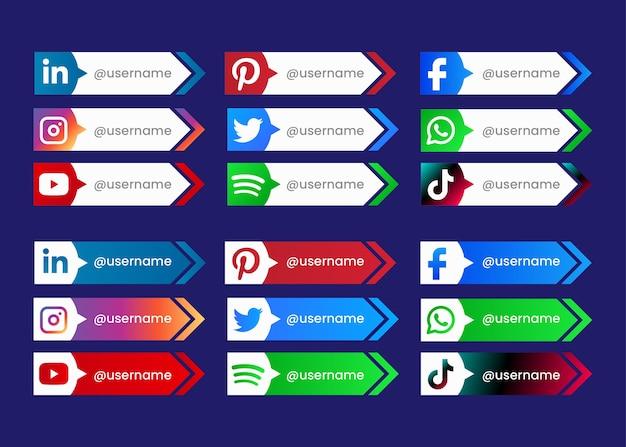 Raccolta di pulsanti social media per il web