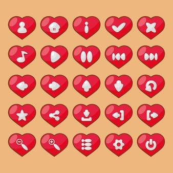 Pulsanti per la progettazione dell'interfaccia utente grafica di giochi e applicazioni sul tema dell'amore sotto forma di cuori con opzioni e icone di navigazione.
