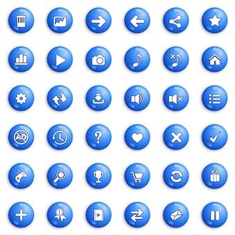 Pulsanti e set di icone di design per gioco o web colore blu.