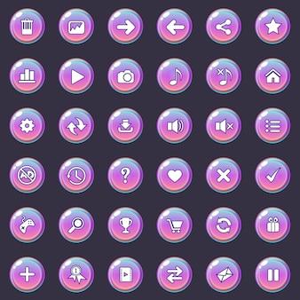 I pulsanti e il set di icone per il gioco o il web sono di colore sfumato.