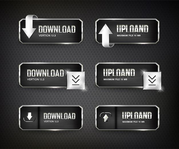 I pulsanti impostano il download web in acciaio su sfondo colore nero