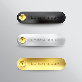 I pulsanti impostano il download web in acciaio sul colore di sfondo nero