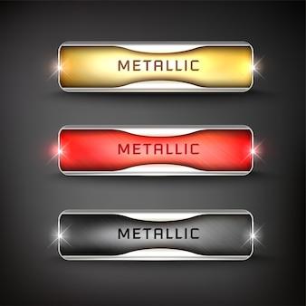 Bottoni set web acciaio su sfondo colore nero 17
