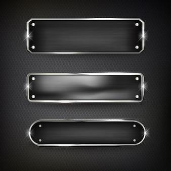 I pulsanti impostano l'acciaio web sul colore di sfondo nero