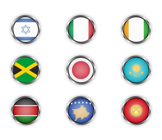 Bottoni con la cornice metallica delle bandiere di paesi.