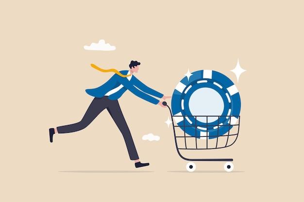 Acquista azioni blue chip con un alto rendimento atteso, migliore guadagno o società ad alto profitto, opportunità di investimento nel concetto di crescita aziendale, investitore d'affari intelligente che acquista blue chip nel carrello.