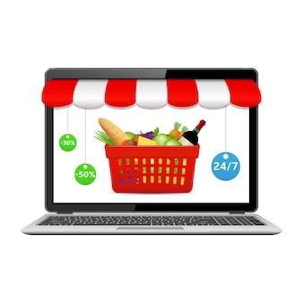 Acquista generi alimentari online, concetto di acquisto di internet.