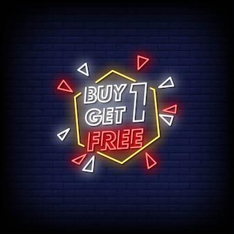 Paghi uno prendi due testo in stile insegne al neon gratis